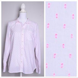 💕3for$20💕 Merona White Pink Dots Button Shirt